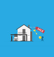 home with sell label and key real estate concept vector image