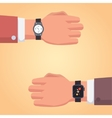 Smart watch on businessman hand of a vector image