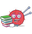 student with book knitting character cartoon style vector image