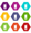 tag with bar code icon set color hexahedron vector image