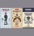 vintage wild west vertical banners vector image