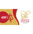 voucher template with gold gift box certificate vector image