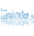 Outline Cairo Skyline with Blue Buildings vector image