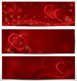 Sparkling hearts banners vector image