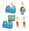 Cartoon character travel agent set vector image