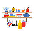 cooking and restaurant equipment on kitchen vector image