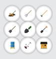 Flat icon dacha set of grass-cutter shovel vector image