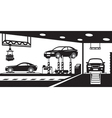 Garage with stand canal and crane vector image
