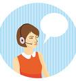 girl operator in headphones on blue background vector image
