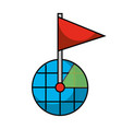 gps navigation screen pointer map flag marker vector image