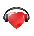 heart with headphones vector image