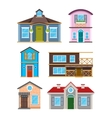 Modern residential building houses cartoon vector image