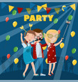 party poster happy dancing people vector image