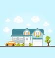 pixel art style retro game city location house vector image