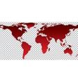 Red map of world on transparent background vector image