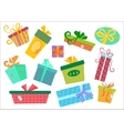 Flat design gifts boxes set Gift box vector image