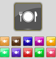 Plate icon sign Set with eleven colored buttons vector image