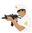 US military with Russian gun vector image vector image