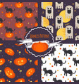 halloween concept seamless patterns set vector image
