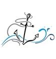 Anchor in sea vector image