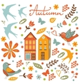 Autumn set with birds flowers and leaves vector image vector image
