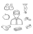 Banker money and finance sketch icons vector image