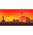 Sunset with Saguaro Cactus Desert vector image