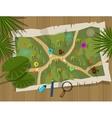 map jungle cartoon treasure hunter vector image