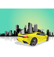 Polygonal sport car with cityscape at the vector image