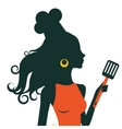 Beautiful cooking woman holding spatula vector image