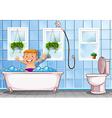 Boy taking a bath in bathroom vector image