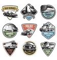 Public And Emergency Transport Logos Set vector image