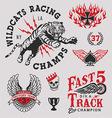 Vintage racing emblem graphics set vector image