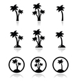 Palm trees exotic holidays on beach icons vector image vector image