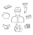 Banker and financial sketched icons vector image