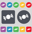 candy icon sign A set of 12 colored buttons Flat vector image