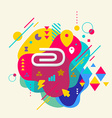 Clip on abstract colorful spotted background with vector image