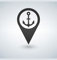 dark map pointer with anchor symbol icon vector image