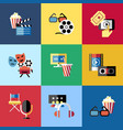 digital red blue 9 cinema icons vector image