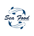 sea food restaurant and fish logo vector image