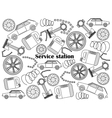Service station colorless set vector image