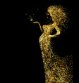 beautiful woman abstract figure formed by gold vector image vector image