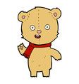 comic cartoon waving teddy bear with scarf vector image