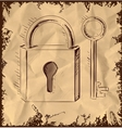 Old key and lock on vintage background vector image