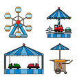 set icons amusement park isolated on white vector image