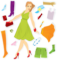 Clothes sticker and girl vector image vector image
