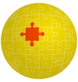 Jigsaw puzzle in the shape of a sphere with one vector image vector image