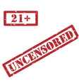 21 and uncensored restriction sign vector image