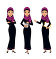 arab business women characters four poses vector image
