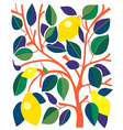 Decorative card with lemons and leaves vector image